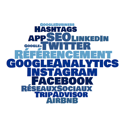 Wordcloud référencement web seo google analytics facebook instagram adwords